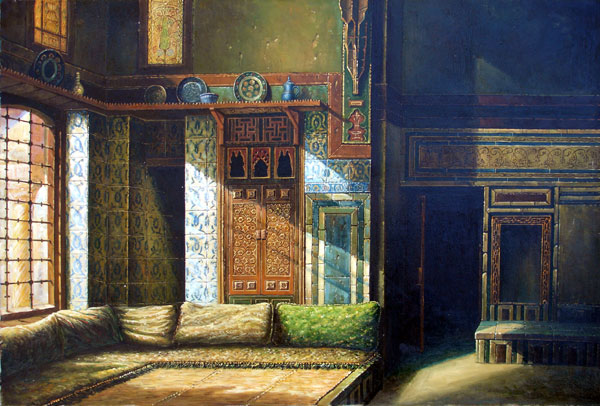 Painting of a traditional Arab home, by Abdallah Masad