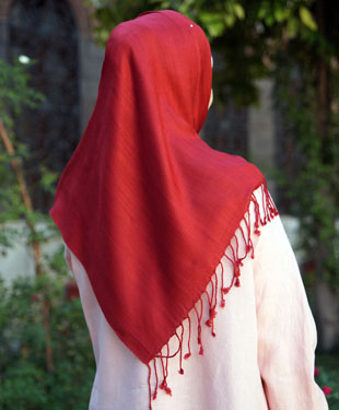 A striped geometrical jacquard hijab from Shukr