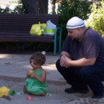Wael and his daughter Salma at the park in Mountain View