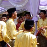 Kuala Lumpur: Men at the wedding playing drums and singing