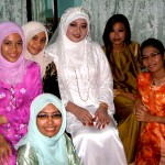 A Muslim wedding in Perlis, Malaysia. Ain, Akma, Leilah the bride, Miza, Zira and euhmm Zira's twin?