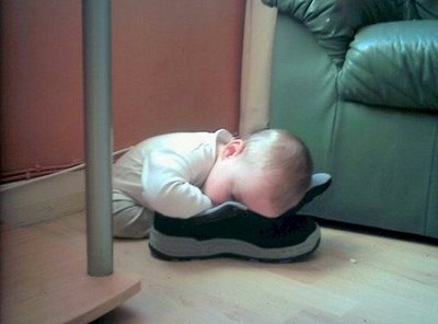 Baby sleeping in a shoe