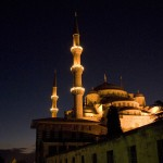 In Istanbul, Turkey, the Blue Mosque is seen at dusk on the first day of Eid al-Adha on December 8, 2008. (REUTERS/Tan Shung Sin)