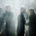 Chinese Muslims wait to buy mutton skewers during Eid al-Adha outside Huxi Mosque in Shanghai December 9, 2008. (REUTERS/Aly Song (CHINA)