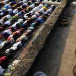 Muslims from the Abobo quarter of Abidjan pray during the annual celebration of Tabaski (Eid al-Adha) on December 8, 2008. (KAMBOU SIA/AFP/Getty Images)