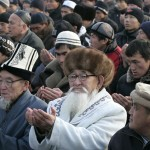 Kyrgyz men pray on the first day of Eid al-Adha, the Muslim feast of sacrifice, in Bishkek, Kyrgyzstan on December 8, 2008. (VYACHESLAV OSELEDKO/AFP/Getty Images)