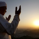 A Muslim pilgrim prays at the top of Mount Noor in Mecca, Saudi Arabia, Friday, Dec. 5, 2008. The pilgrims will visit the Hira cave in Mount Noor where the Prophet Mohammad worshipped before his first revelation. (AP Photo/Hassan Ammar)