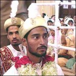 "The grooms and brides were kept apart until the main ceremony, or ""Nikah"", was over."