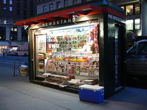 Magazine newsstand in New York