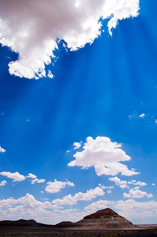Painting of desert sun rays