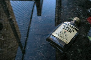 Whiskey bottle in the street