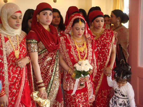 Bengali Muslim bride and her bridesmaids