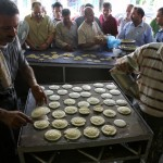 Palestinian qatayef being prepared in Ramadan