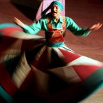 Cairo, Egypt: A Dervish dancer whirls at a special Ramadan performance in the Egyptian capital. Entertainment during Ramadan can last late into the night, but stops before fasting commences.