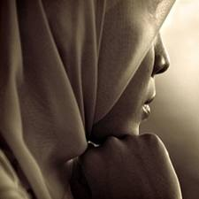 Muslim woman in silhouette