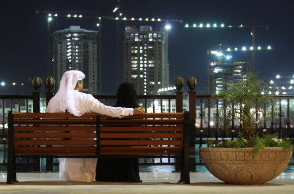 A Qatari couple relaxes in the evening