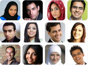 Young Muslim faces