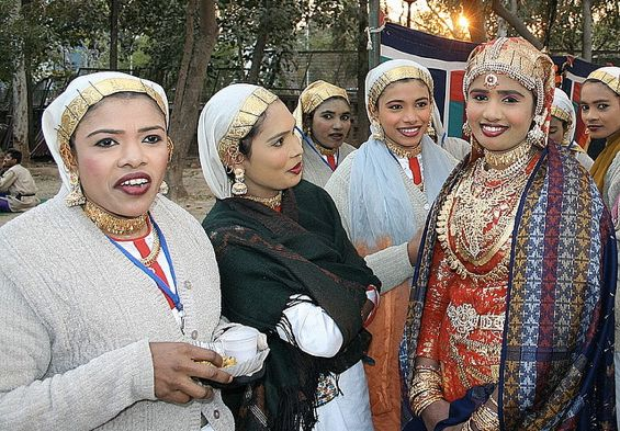 The bride and friends at a Muslim wedding in Kerala, India