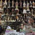 Egyptian men in a lantern shop