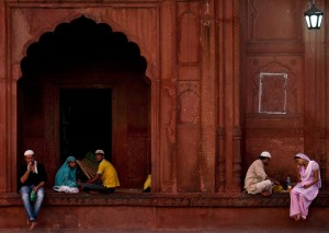 Muslims break their fast at the Jama Masjid mosque in New Delhi, India during Ramadan
