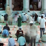 Nepalese Muslims praying in Katmandu during Ramadan