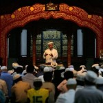 An Imam gives the khutbah in Ramadan.