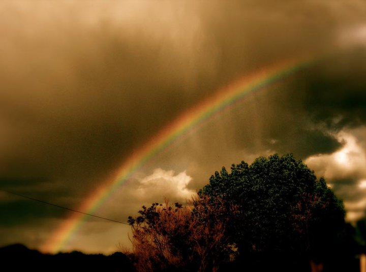 Rainbow in a brown sky