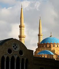 mosque and church in Beirut %photo