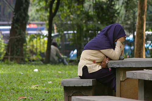 upset muslim woman, distressed sister