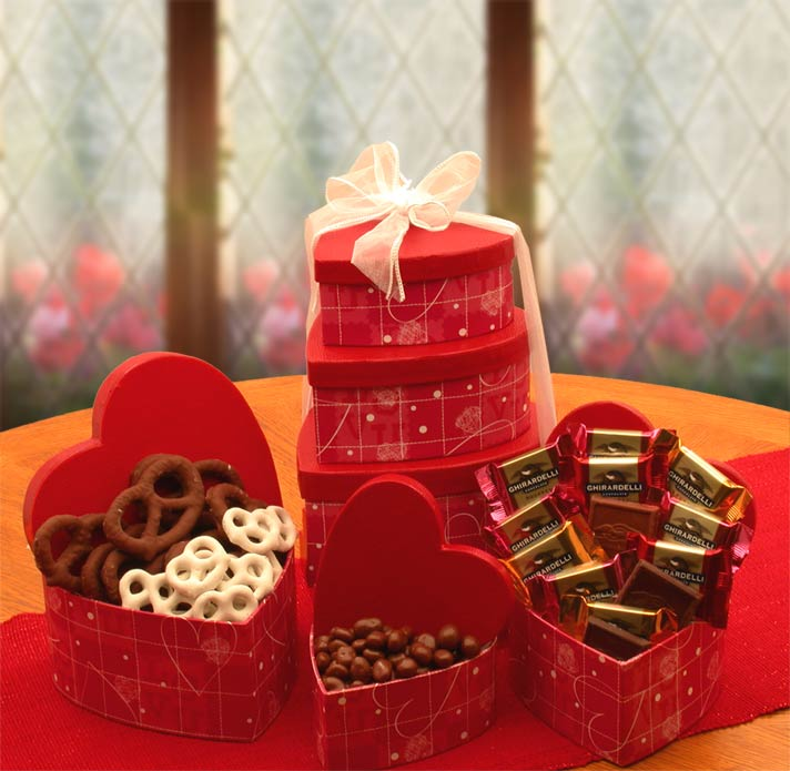 Heart shaped chocolate boxes