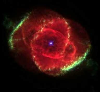 "Allah says in Surah ar-Rahman: ""Then when the heaven is rent asunder, and it becomes rosy or red like red-oil, or red hide. Then which of the Blessings of your Lord will you both (jinns and men) deny?"" The picture is taken by the NASA Hubble Space Telescope of the ""Cat's Eye Nebula."" It is an exploding star 3,000 lightyears away. We see it now in the years 1999/2000! And the Qur'an mentioned it more than 1400 years ago"