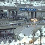 Hajj pilgrims walk the streets near to the tent city of Mina, near Mecca.