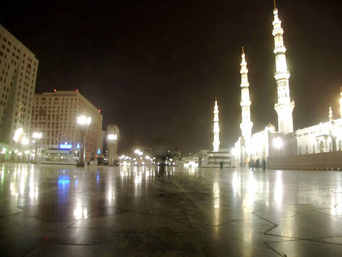 Outside the Prophet's Mosque in Madinah