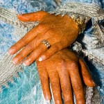 Henna patterns on the bride Hakima's hands