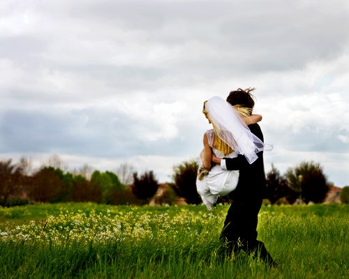 Groom carrying bride across a field of flowers