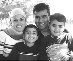 A happy Muslim family