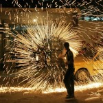 Palestinian youth with homemade fireworks