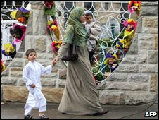 Muslim mother with her two children in Australia