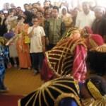 Bhangra dancers at a Malay wedding
