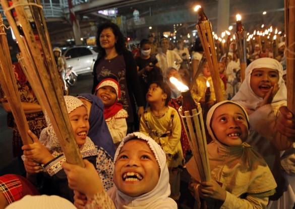 Children in Jakarta, Indonesia celebrate Eid 2011.
