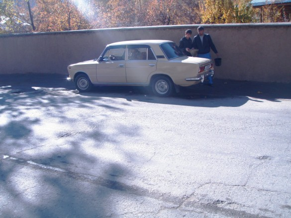 Gassing up the good old Lada for the trip to Bogev