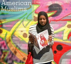 Muslim sister reading Azizah magazine.
