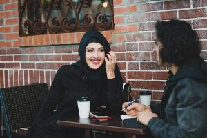 Muslim couple at a coffee shop